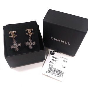 Chanel CC Logo Clover Resin Dangle Earrings